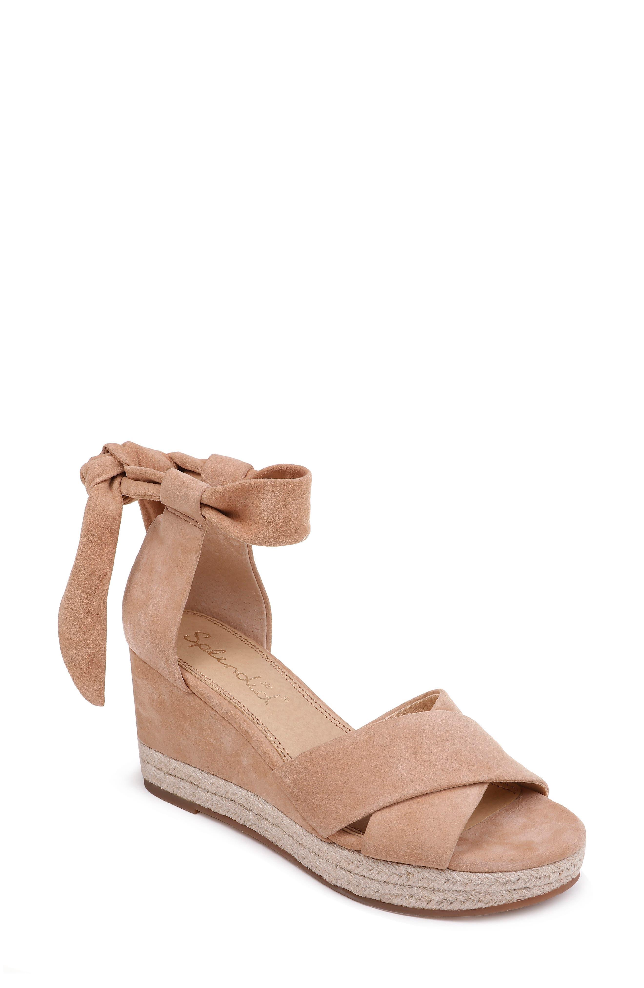 Splendid Terrence Ankle Wrap Wedge Sandal- Beige