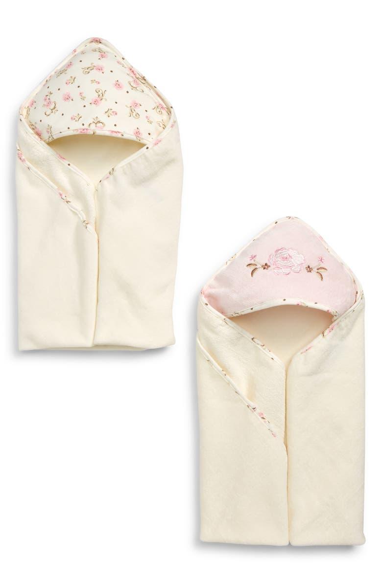 LITTLE ME Rose 2-Pack Hooded Towels, Main, color, ROSE