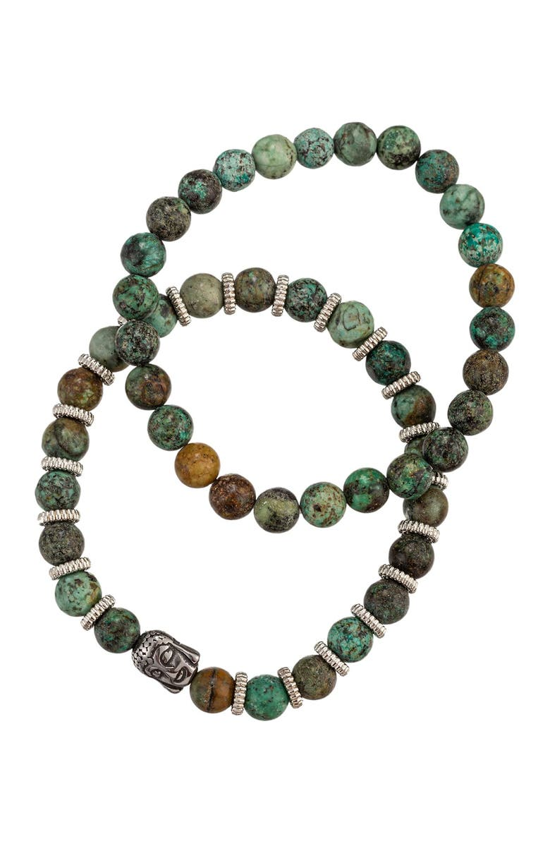 EYE CANDY LOS ANGELES Henry Green Buddha Agate Beaded Bracelet - Set of 2, Main, color, GREEN