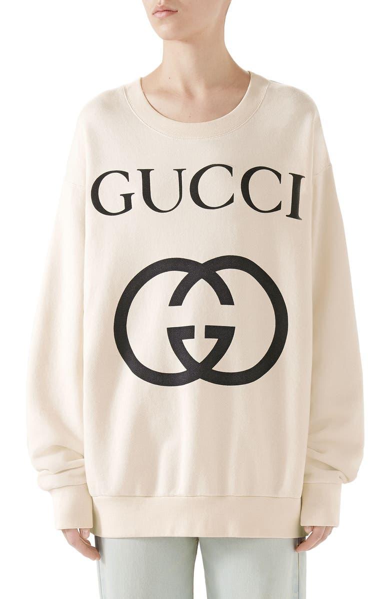 GUCCI Logo Sweatshirt, Main, color, NATURAL/ BLACK