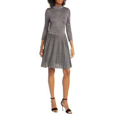 Ted Baker London Noaleen Metallic Pleated Dress, (fits like 0-2 US) - Grey