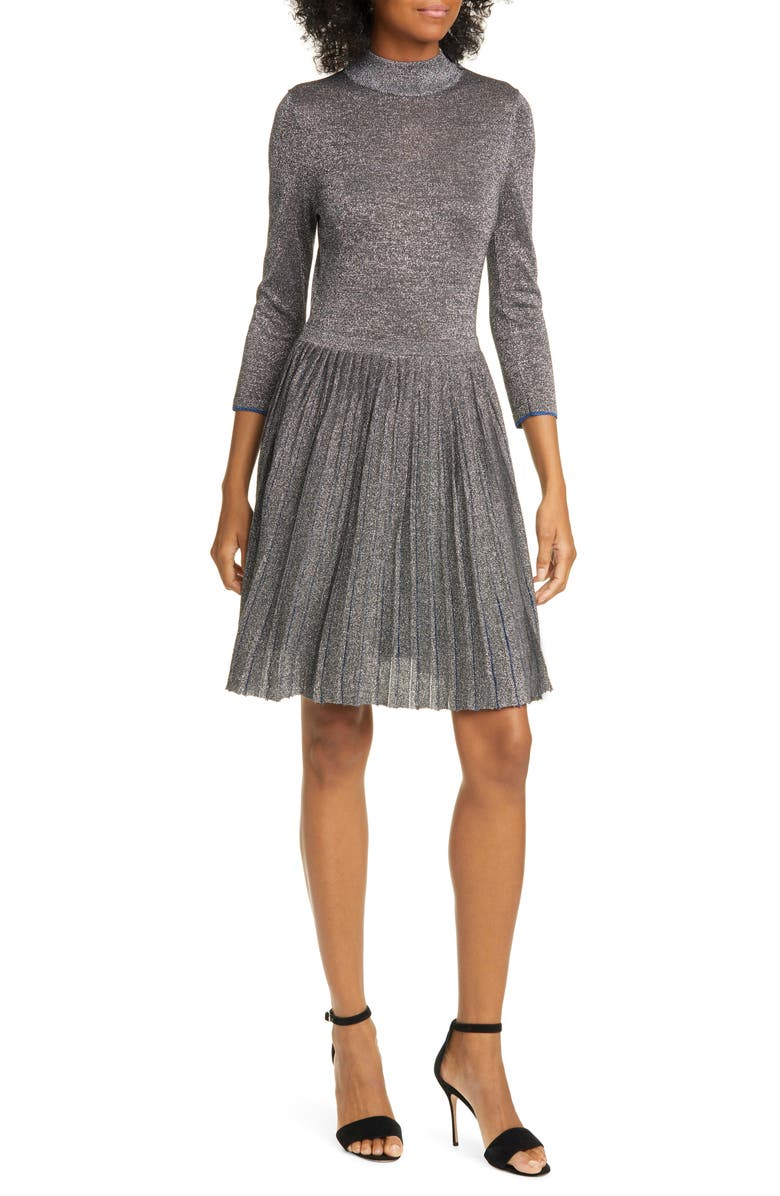 TED BAKER LONDON Noaleen Metallic Pleated Dress, Main, color, 022