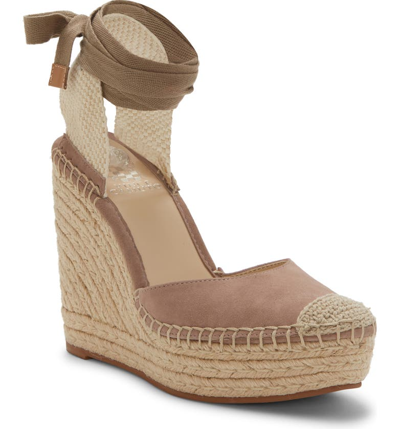 VINCE CAMUTO Alindra Wedge Espadrille Pump, Main, color, DUSTY MINK SUEDE
