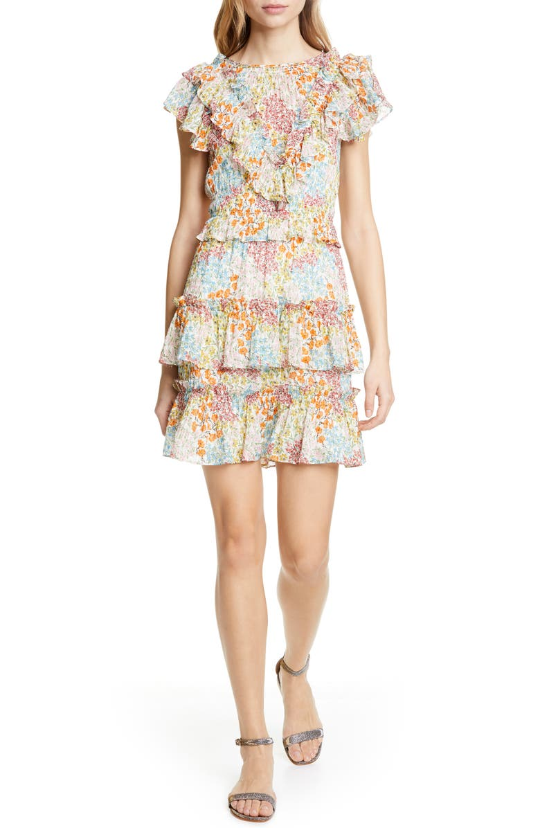 REBECCA TAYLOR Ava Ruffle Minidress, Main, color, MULTI COMBO