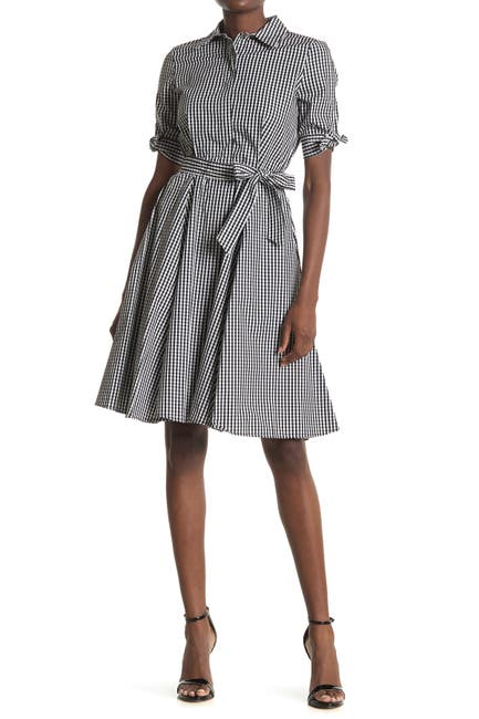 Image of Calvin Klein Small Check Shirt Dress