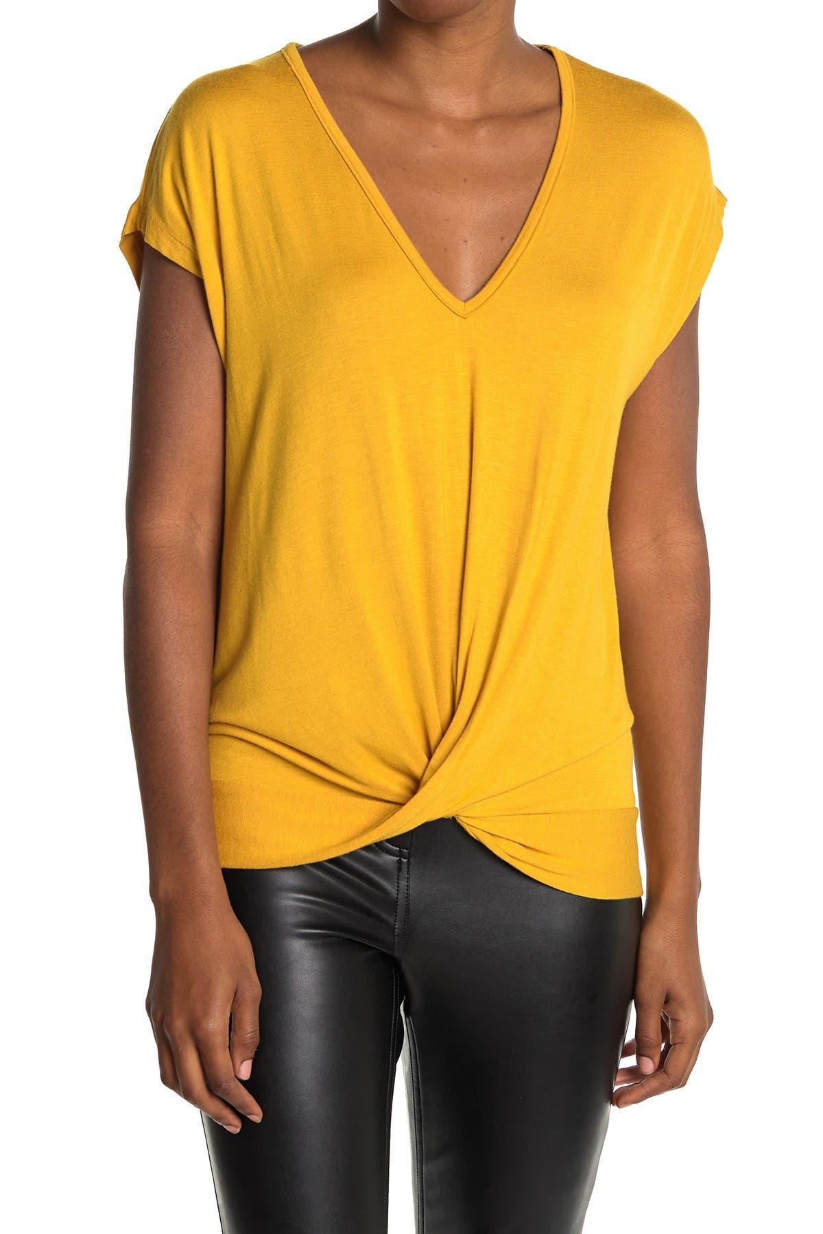 Image of Pleione Short Sleeve V-Neck Twist Front Top