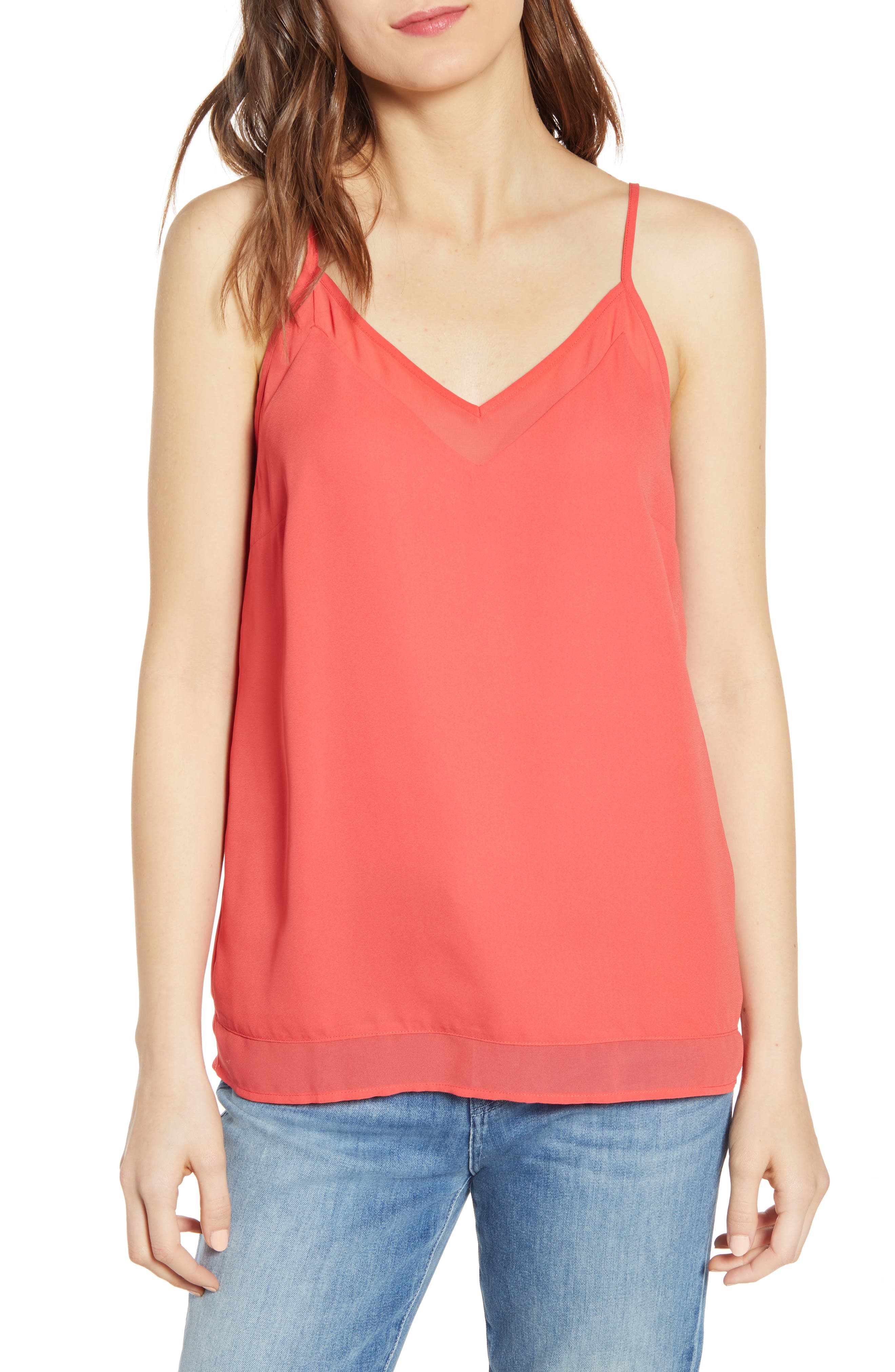 Chelsea28 Illusion Camisole, Red