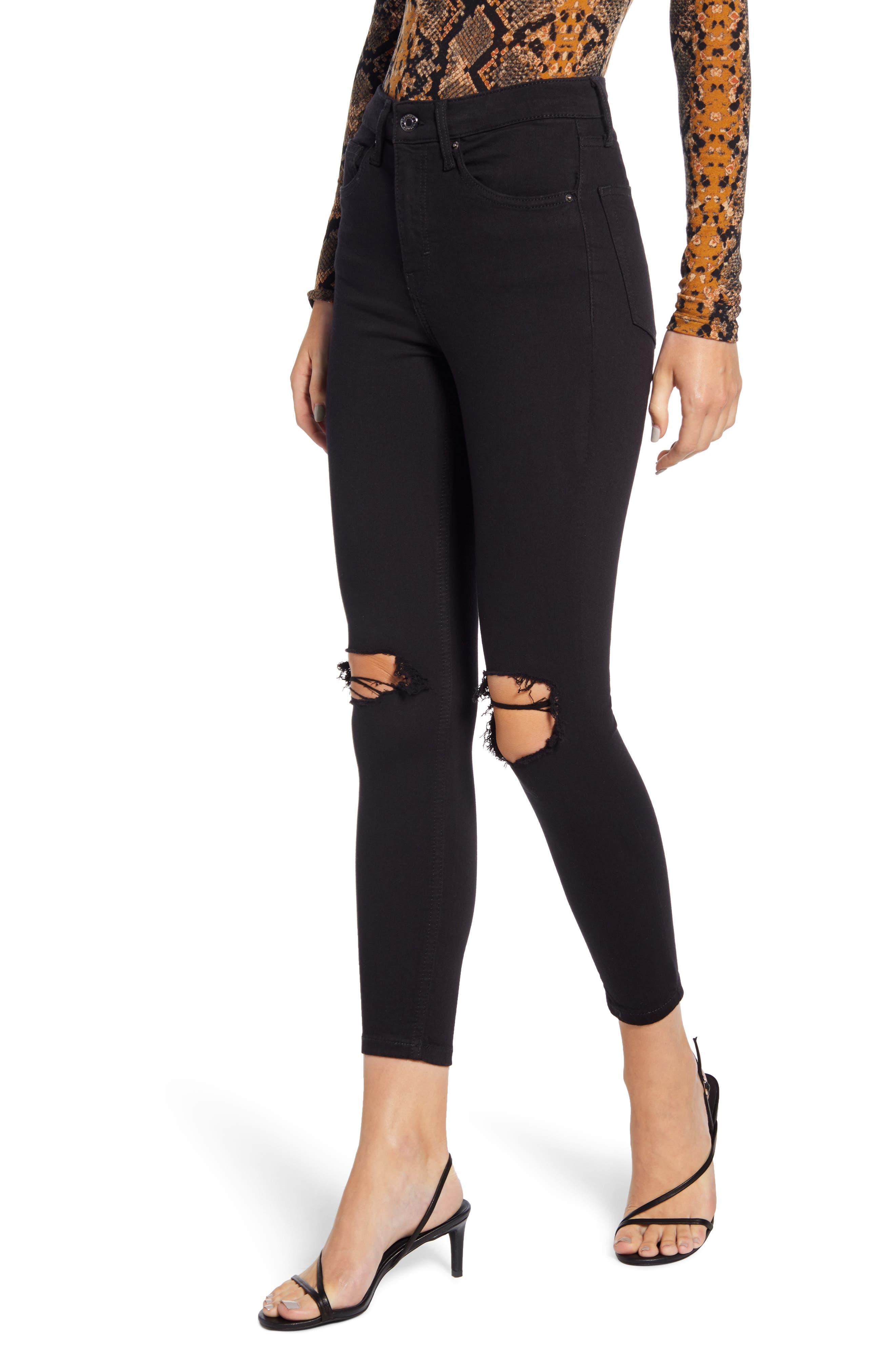 Petite Women's Topshop Jamie High Waist Ripped Skinny Jeans,  26W x 28L (fits like 25-26W) - Black