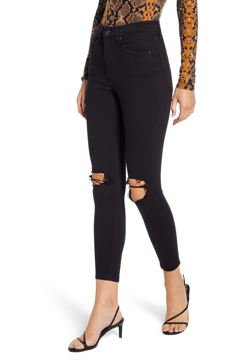 TOPSHOP Jamie High Waist Ripped Skinny Jeans, Main, color, BLACK