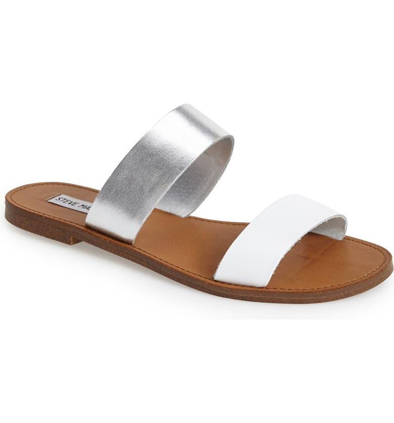 STEVE MADDEN 'D-Band' Leather Slide Sandal, Main, color, 040