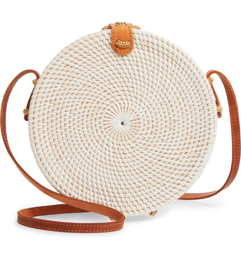 NORDSTROM Woven Rattan Canteen Bag, Main, color, WHITE
