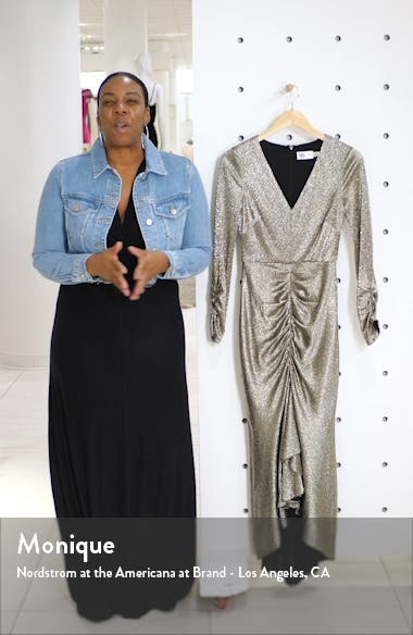 Metallic Long Sleeve High/Low Gown, sales video thumbnail