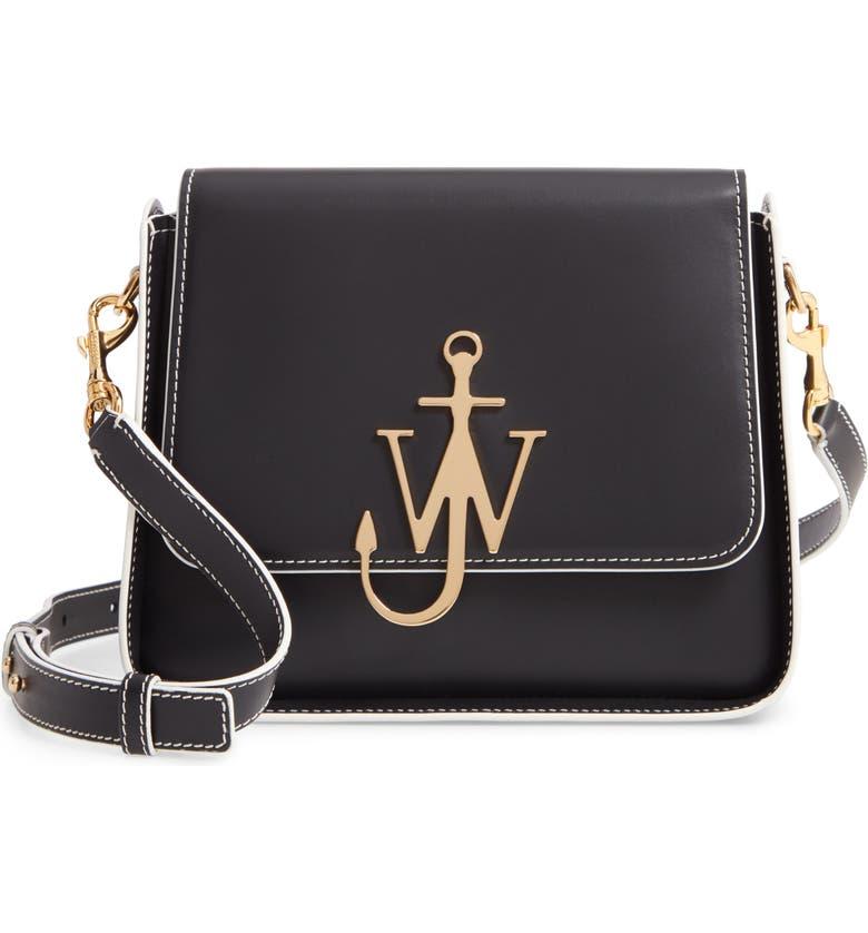 JW ANDERSON Anchor Logo Leather Box Crossbody Bag, Main, color, BLACK