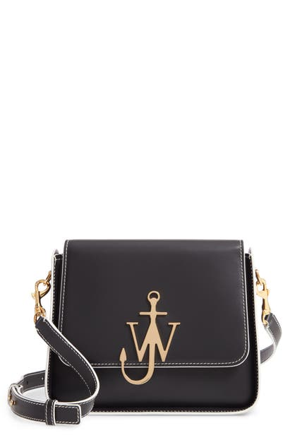 J.w.anderson ANCHOR LOGO LEATHER BOX CROSSBODY BAG - BLACK