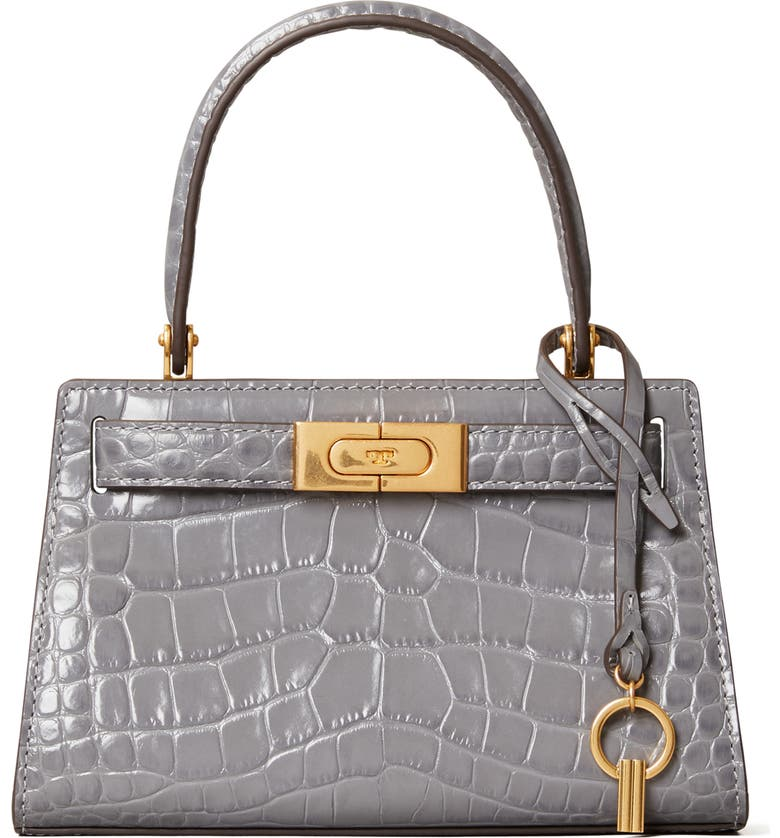 TORY BURCH Mini Lee Radziwill Croc Embossed Leather Satchel, Main, color, ZINC