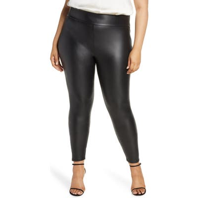 Plus Size Coldesina Faux Leather Leggings, X/3X - Black