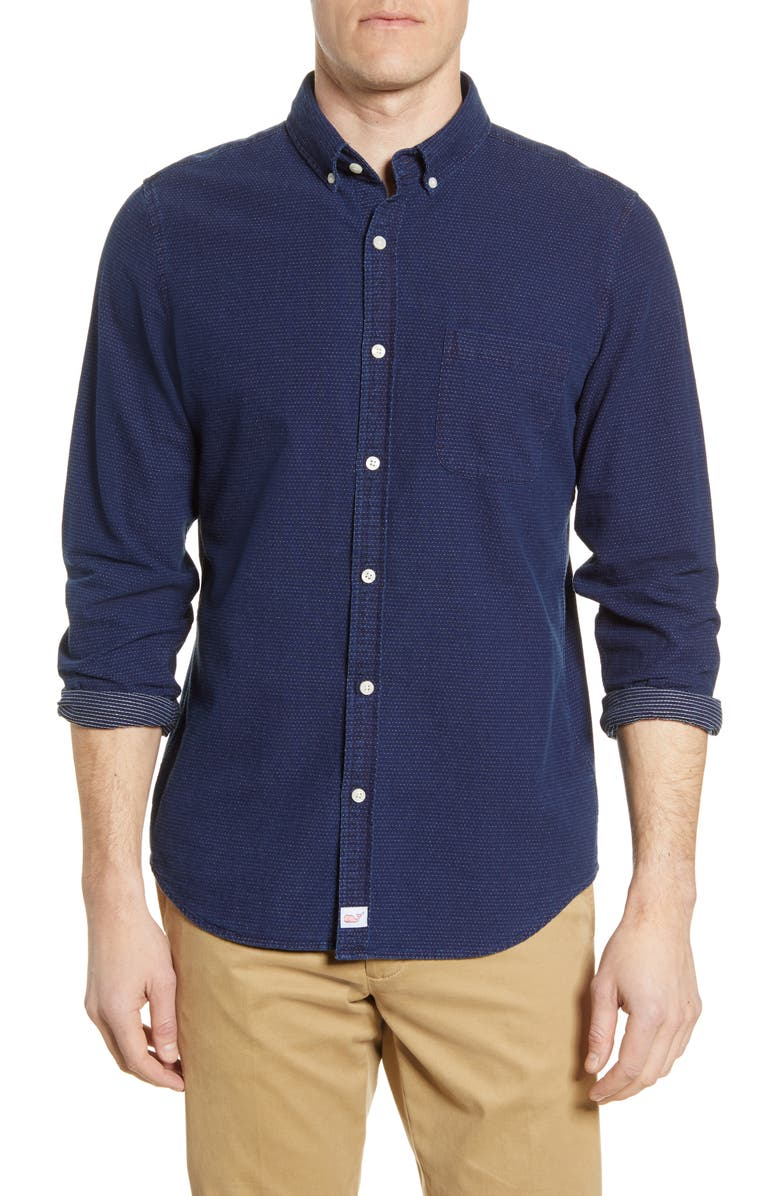 VINEYARD VINES Slim Fit Murray Dobby Button-Down Shirt, Main, color, DEEP BAY