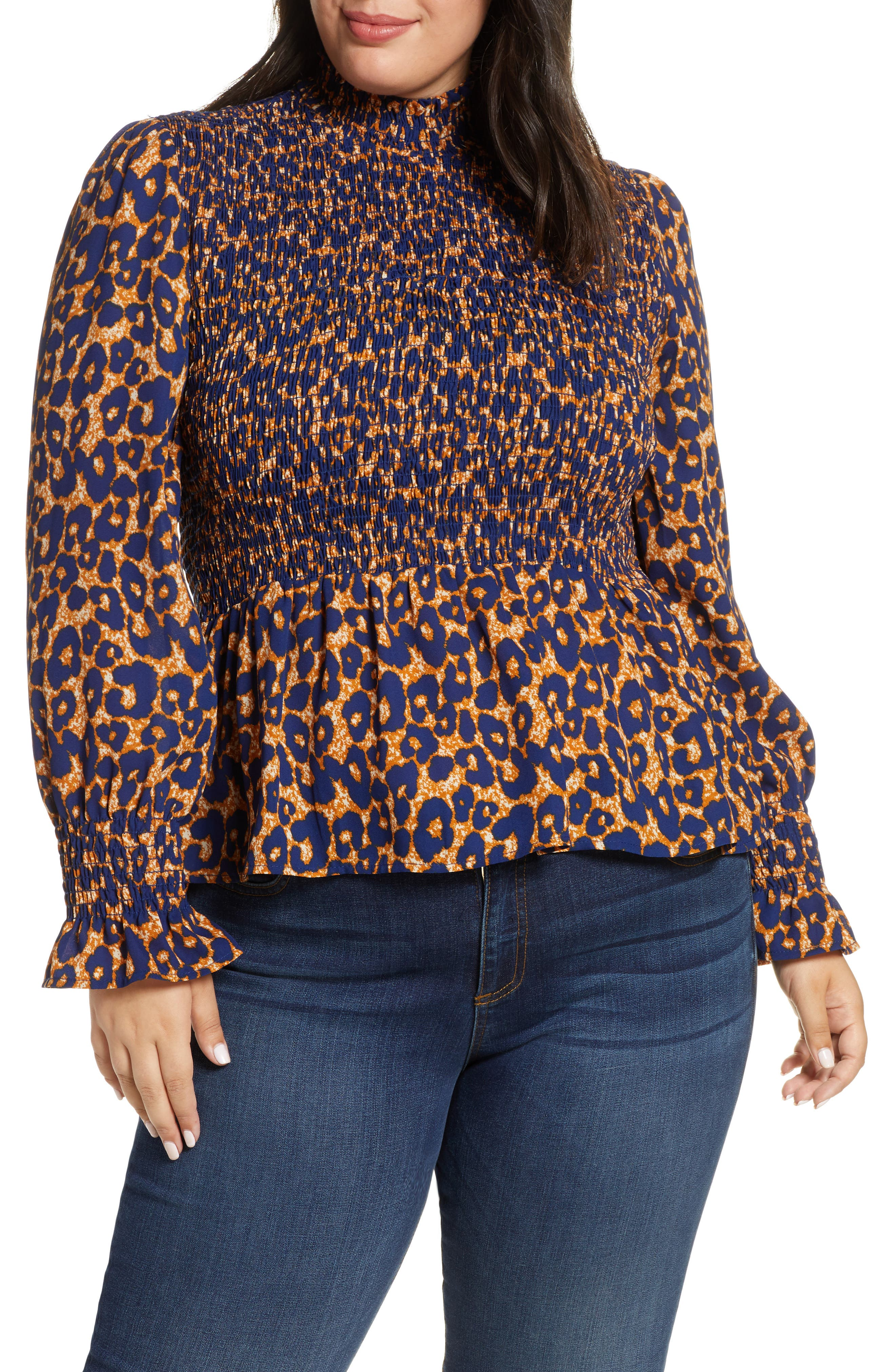 Smocked Peplum Top by Gibson