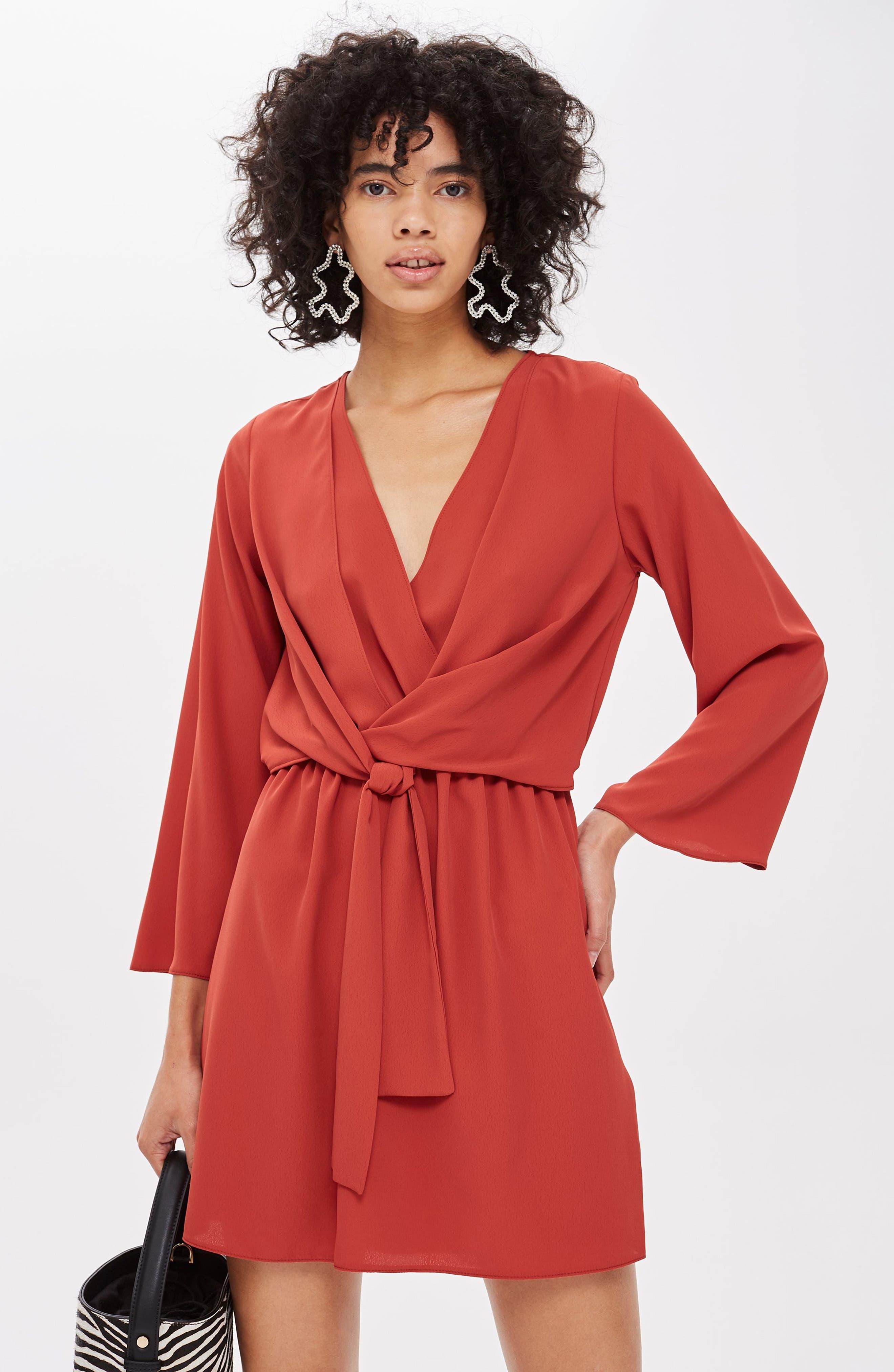 ,                             Tiffany Knot Minidress,                             Alternate thumbnail 5, color,                             RUST