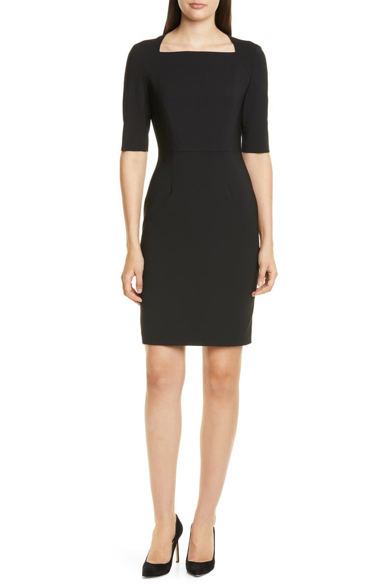 BOSS Dipiseta Stretch Wool Sheath Dress, Main, color, BLACK