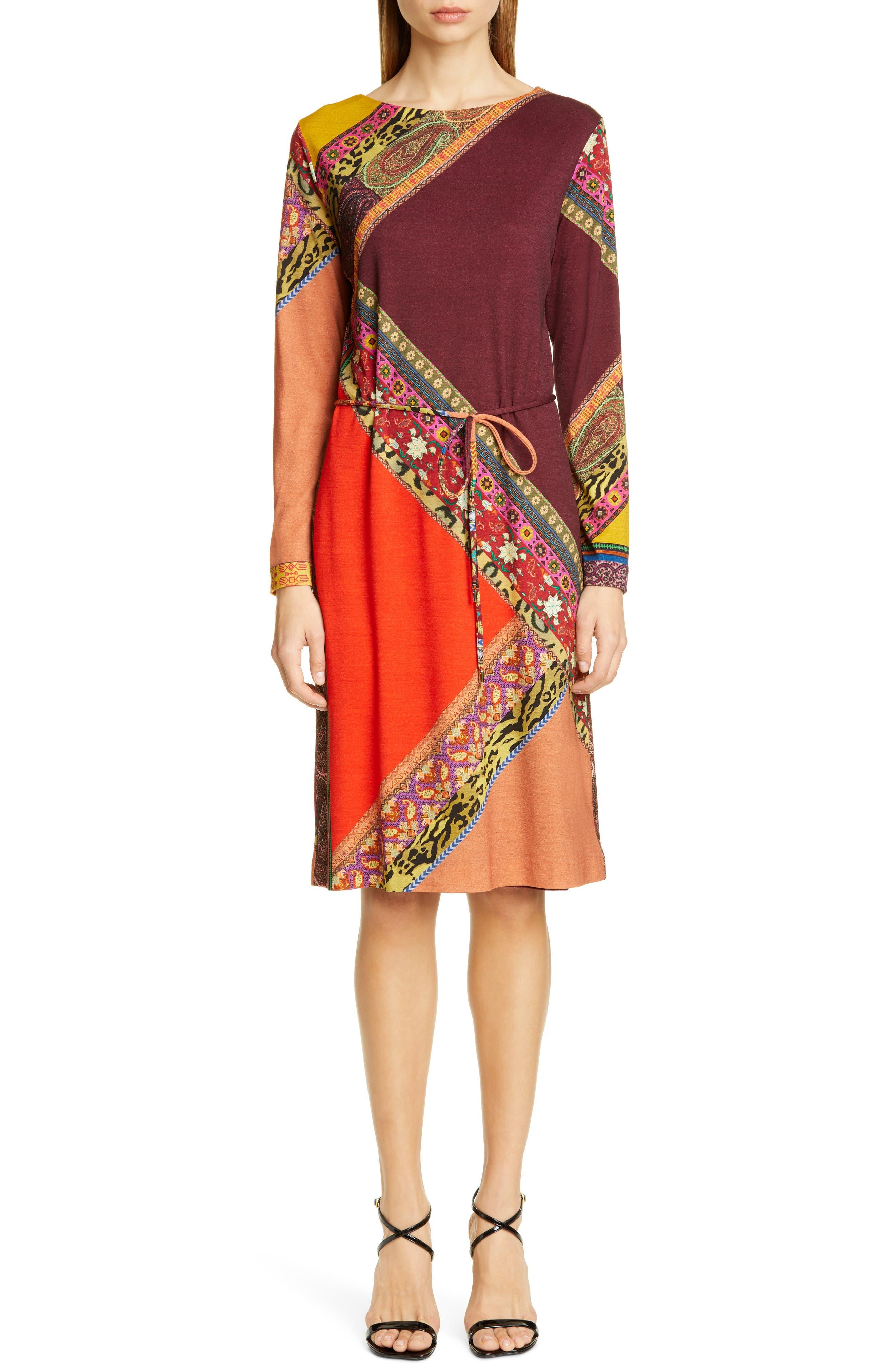Etro Dresses Colorblock Print Long Sleeve Wool Dress