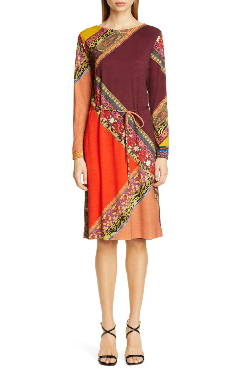 ETRO Colorblock Print Long Sleeve Wool Dress, Main, color, WINE