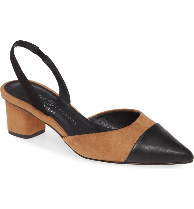 CHINESE LAUNDRY Cabella Slingback Pump, Main, color, BLACK/ TOAST SUEDE