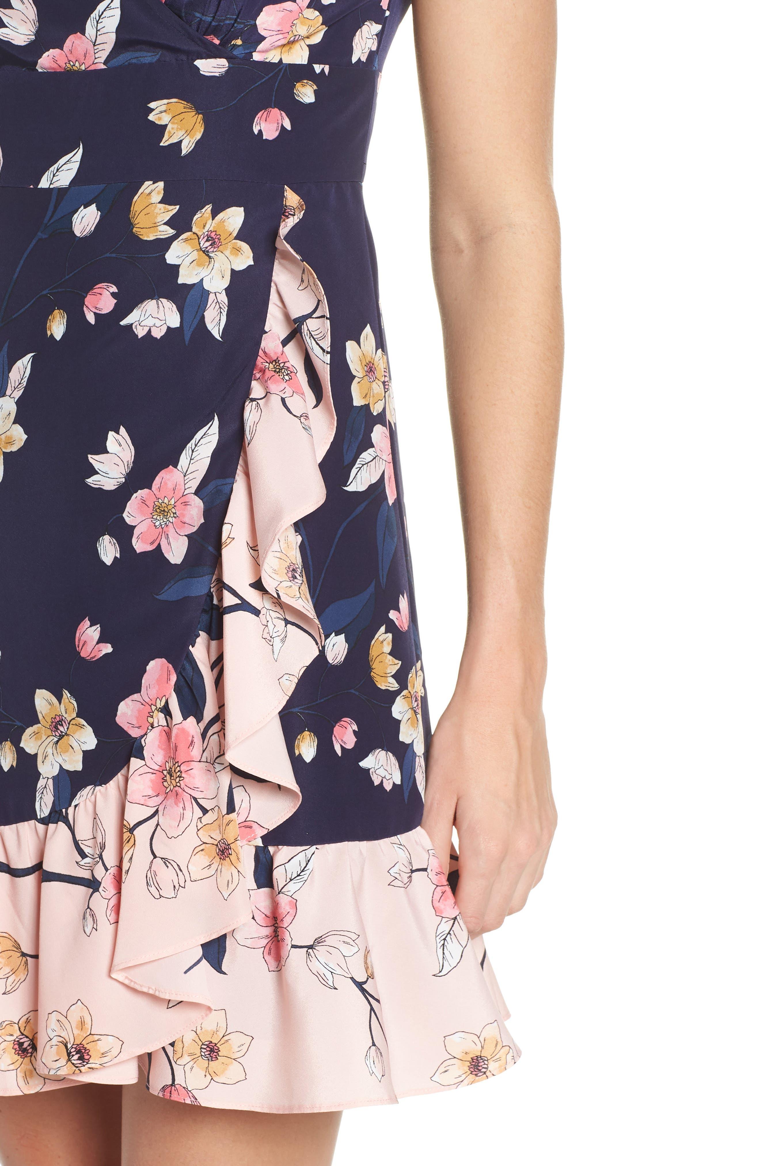,                             Ruffle Faux Wrap Dress,                             Alternate thumbnail 5, color,                             NAVY/ MULTI