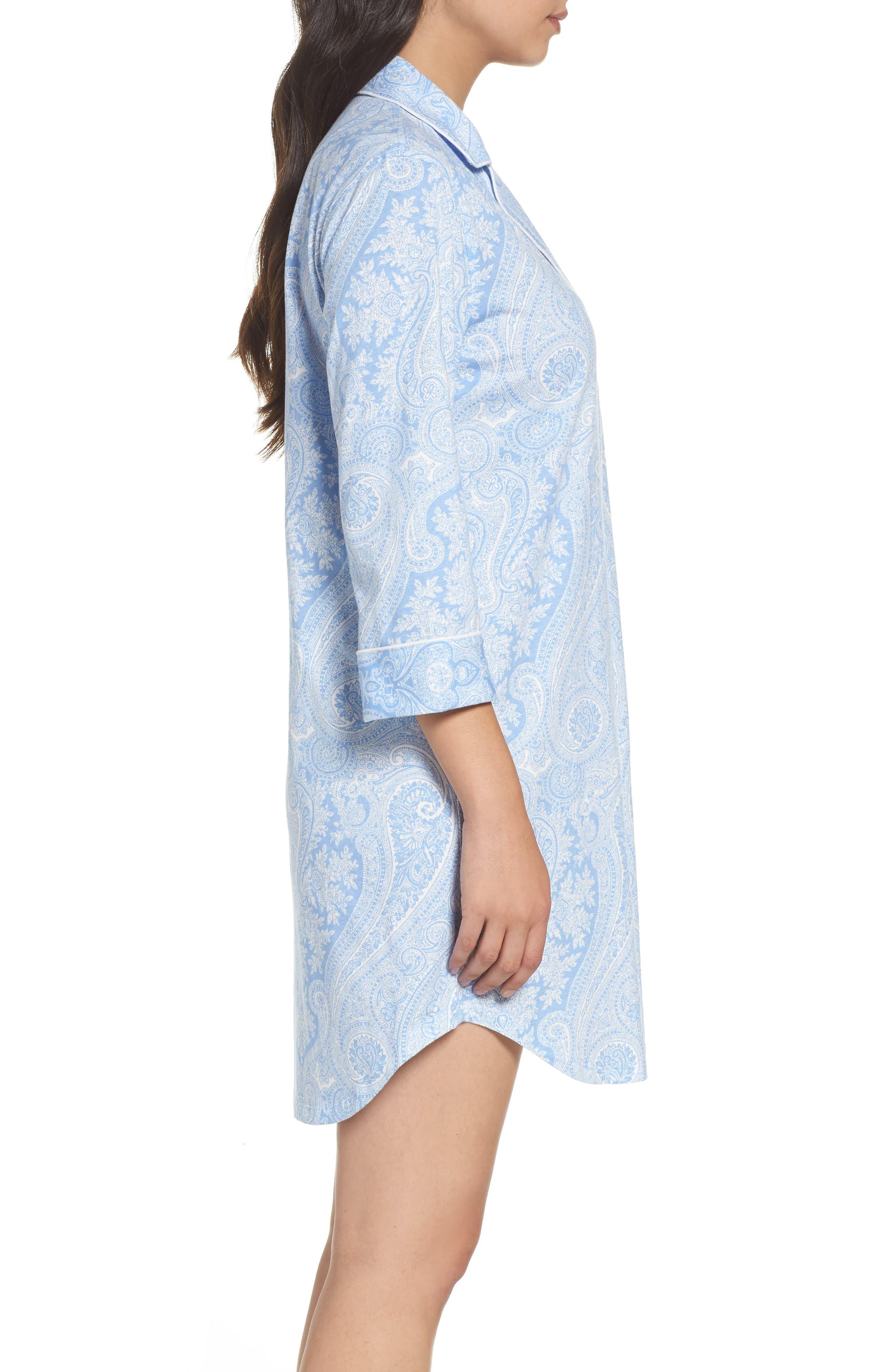 ,                             Jersey Sleep Shirt,                             Alternate thumbnail 3, color,                             BLUE PAISLEY