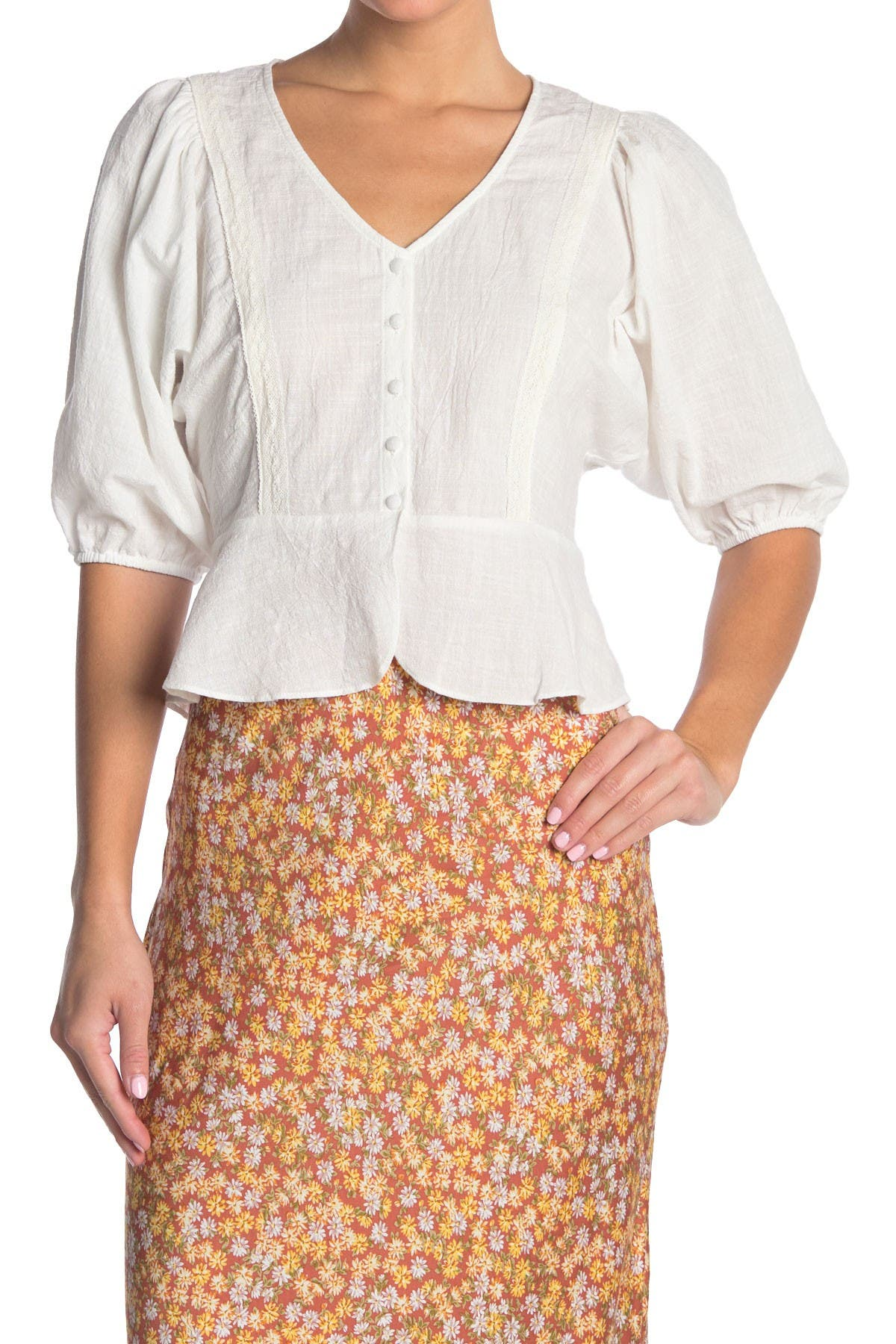 Image of Lush Buttoned Puff Sleeve Blouse