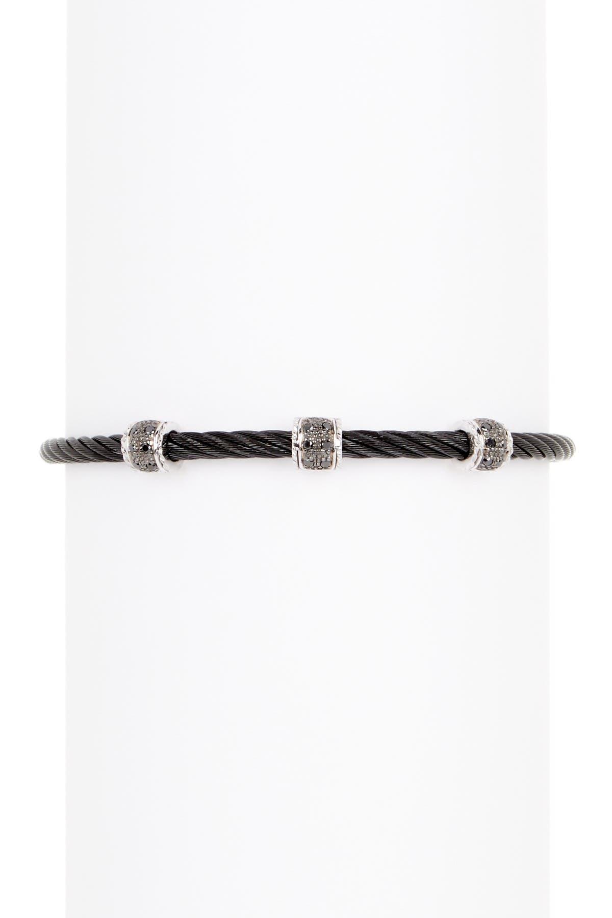 Image of ALOR 18K White Gold Stainless Steel Black Diamond Cable Bracelet - 0.16 ctw