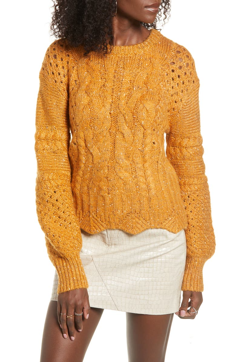 J.O.A. Balloon Sleeve Cable Knit Sweater, Main, color, MUSTARD MULTI