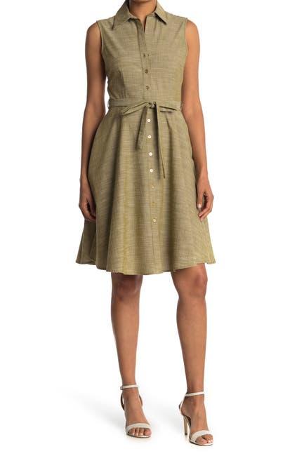 Image of Sharagano Sleeveless Tie Waist Shirt Dress