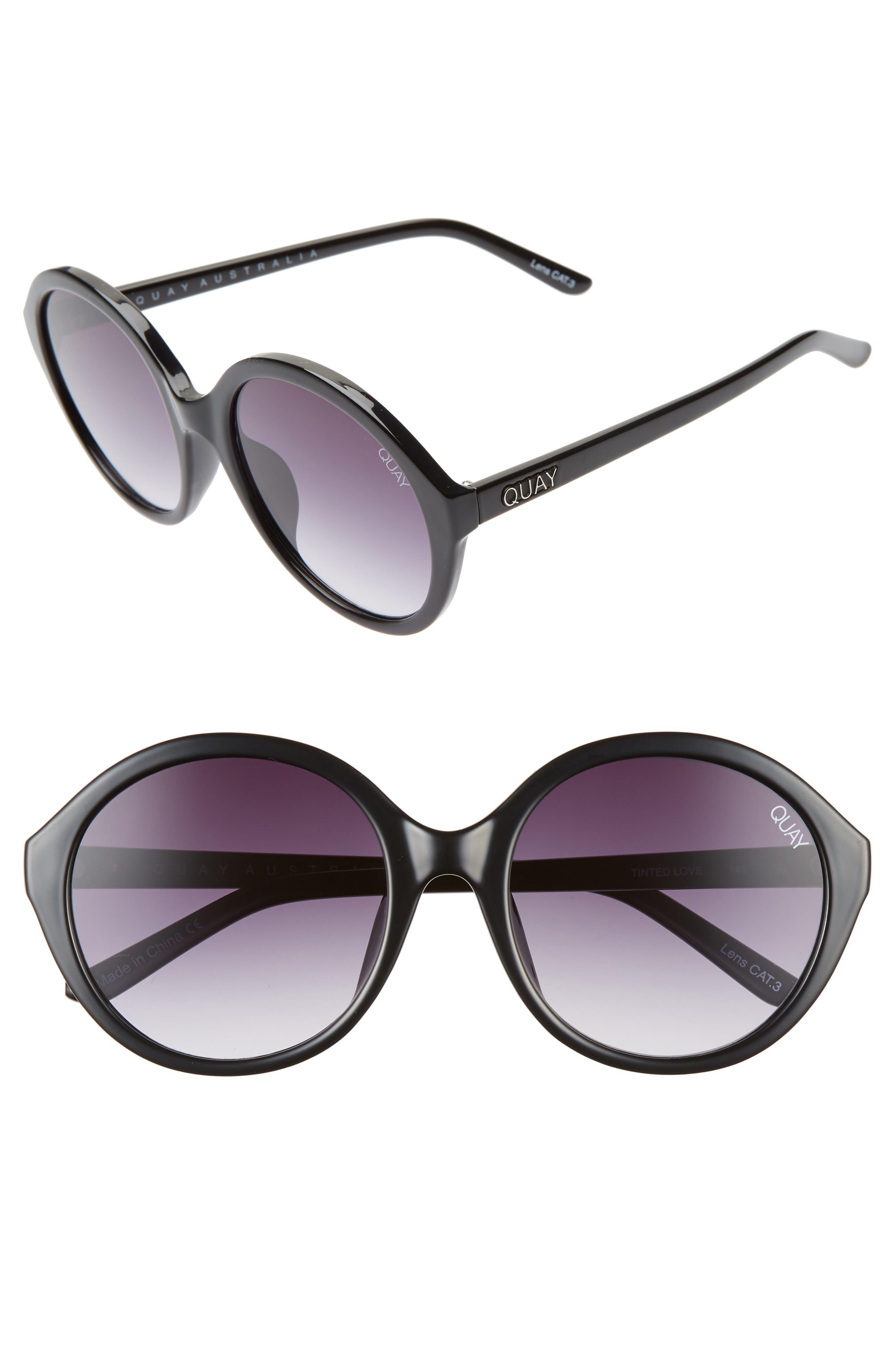 Quay Australia X Benefit Tinted Love 55Mm Round Sunglasses - Black/ Smoke Fade