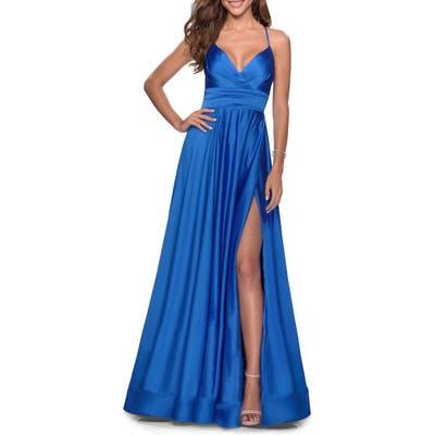 La Femme Satin Empire Waist Sleeveless Gown, Blue