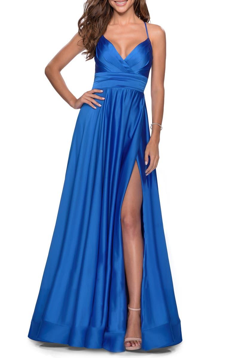 LA FEMME Satin Empire Waist Sleeveless Gown, Main, color, ROYAL BLUE