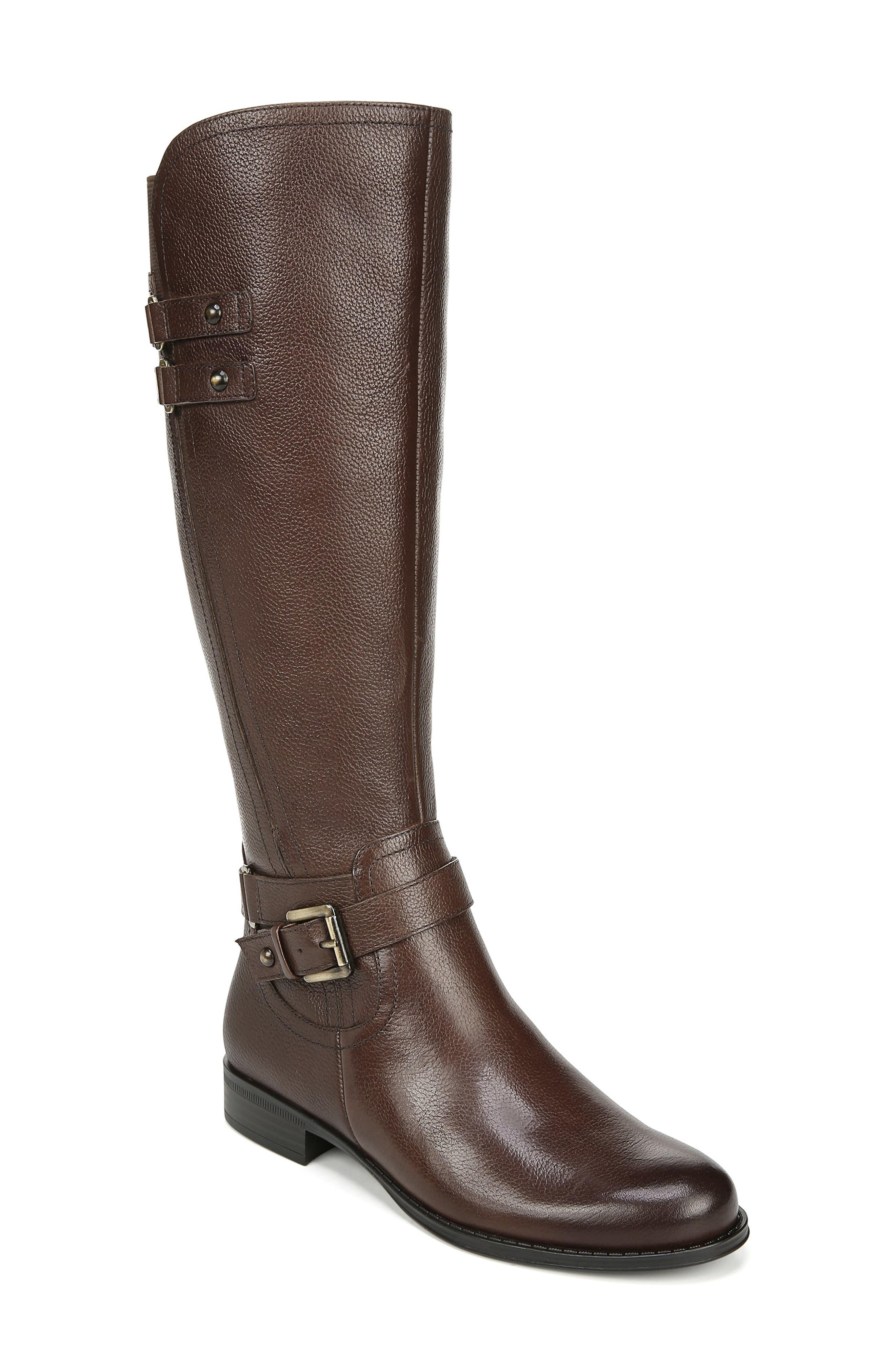 Naturalizer Jackie Tall Riding Boot, Regular Calf- Brown