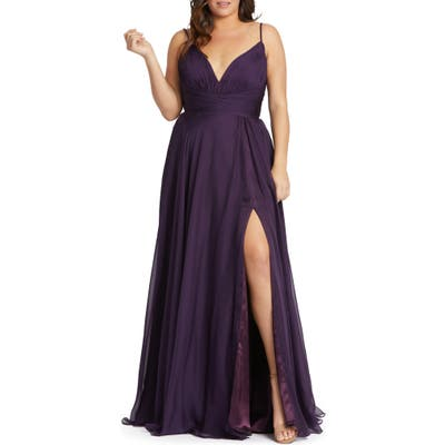 Plus Size MAC Duggal Ruched Satin Gown, Purple