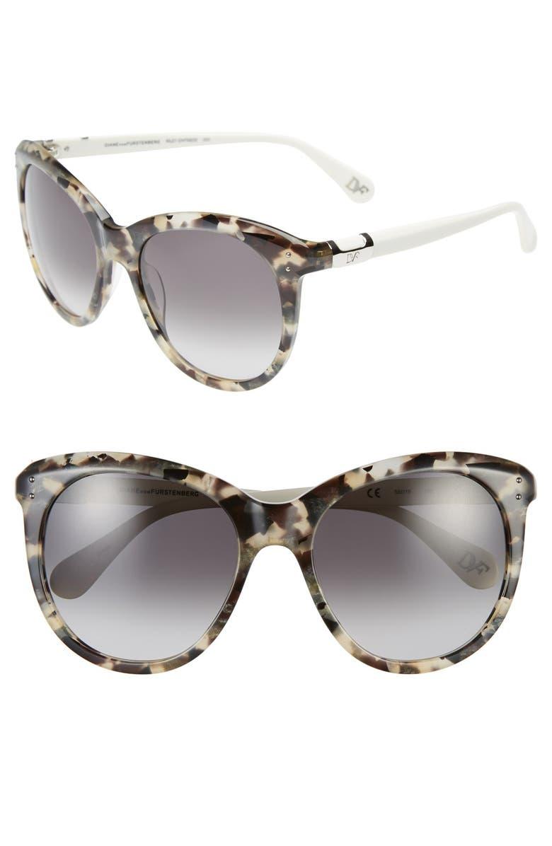 DIANE VON FURSTENBERG 'Riley' 55mm Retro Sunglasses, Main, color, 001