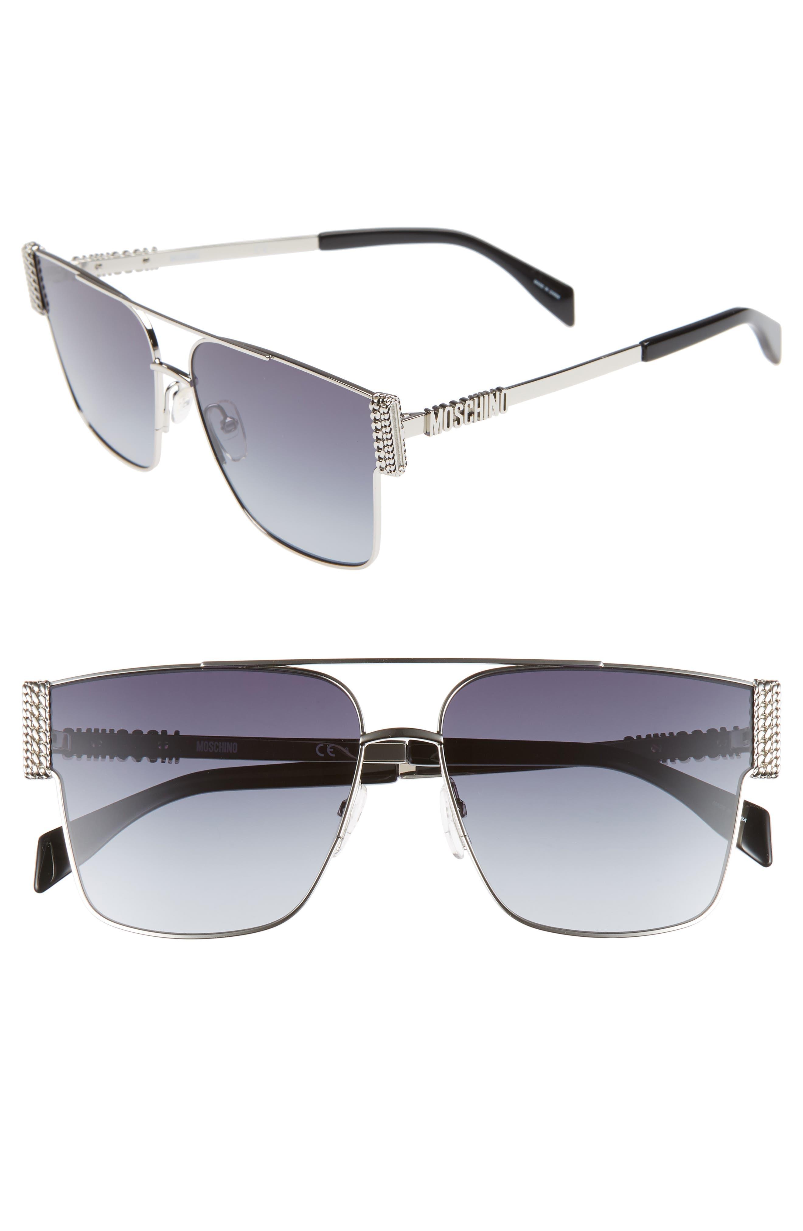 60mm Aviator Sunglasses, Main, color, PALLADIUM