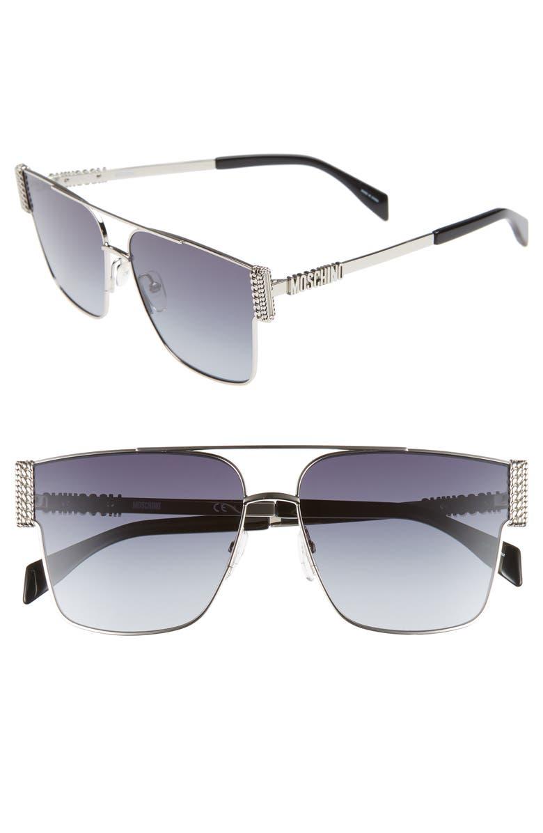 MOSCHINO 60mm Aviator Sunglasses, Main, color, PALLADIUM