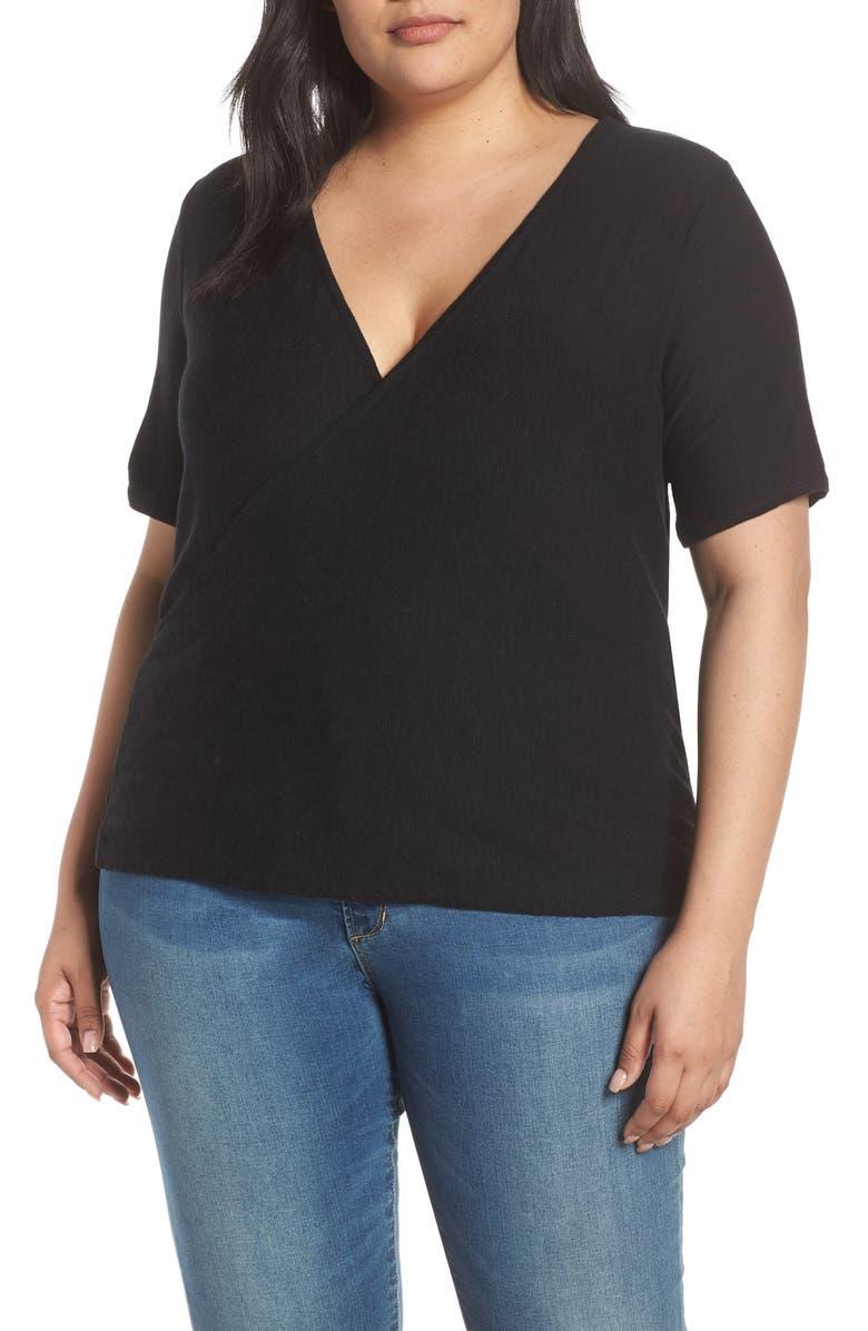 CASLON<SUP>®</SUP> Wrap Sweater, Main, color, BLACK