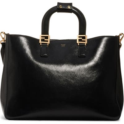 Fendi Medium Glacier Top Handle Leather Tote - Black