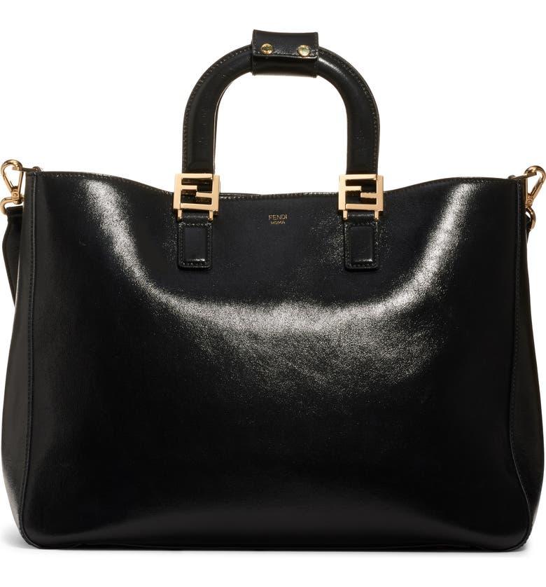 FENDI Medium FF Top Handle Leather Tote, Main, color, BLACK/ SOFT GOLD