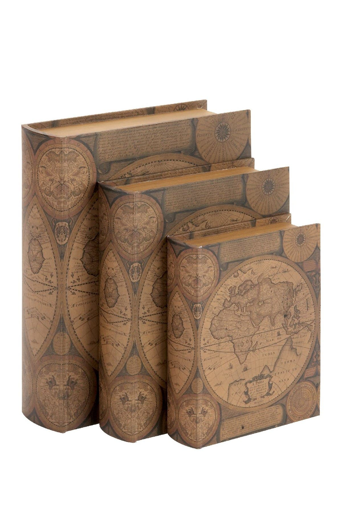 Image of Willow Row Wood & Leather Book Box - Set of 3
