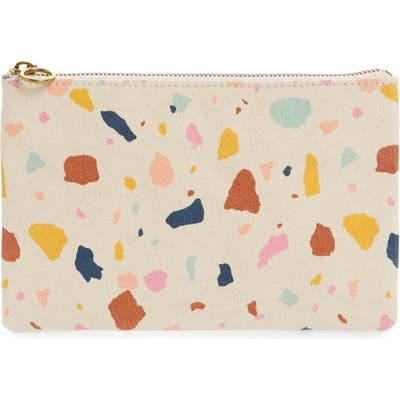 Madewell Terrazzo Canvas Pouch Clutch - Ivory