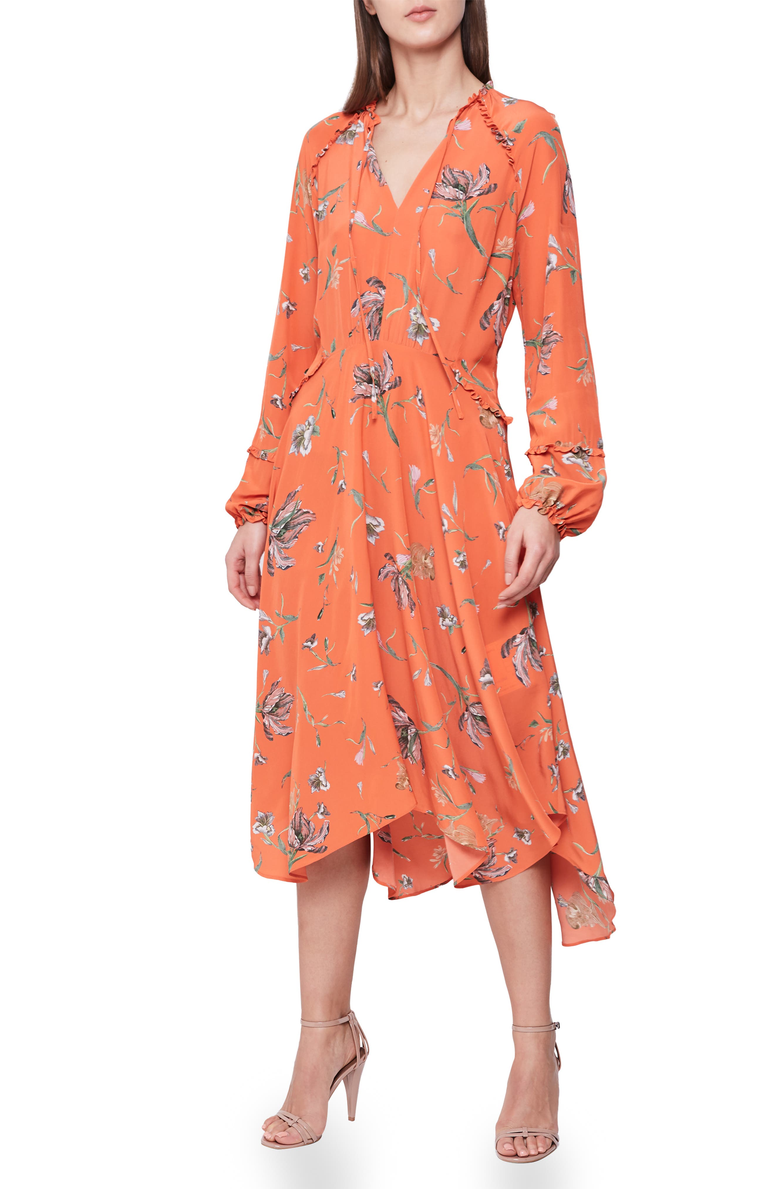 Reiss Bay Ruffle Detail Tie Neck Long Sleeve Floral Dress