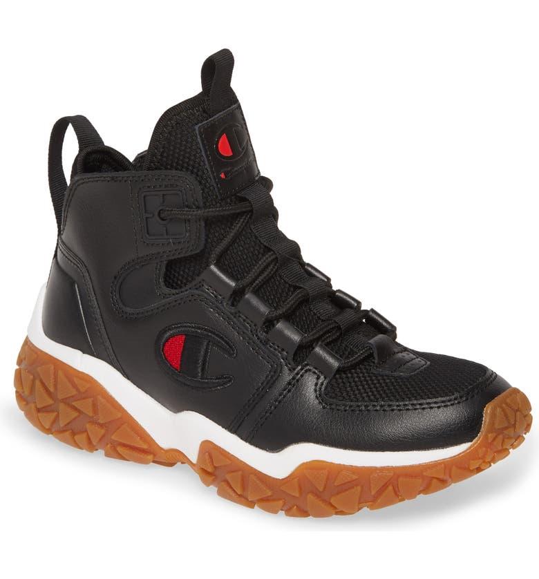 CHAMPION Tank Grid High Top Sneaker, Main, color, BLACK