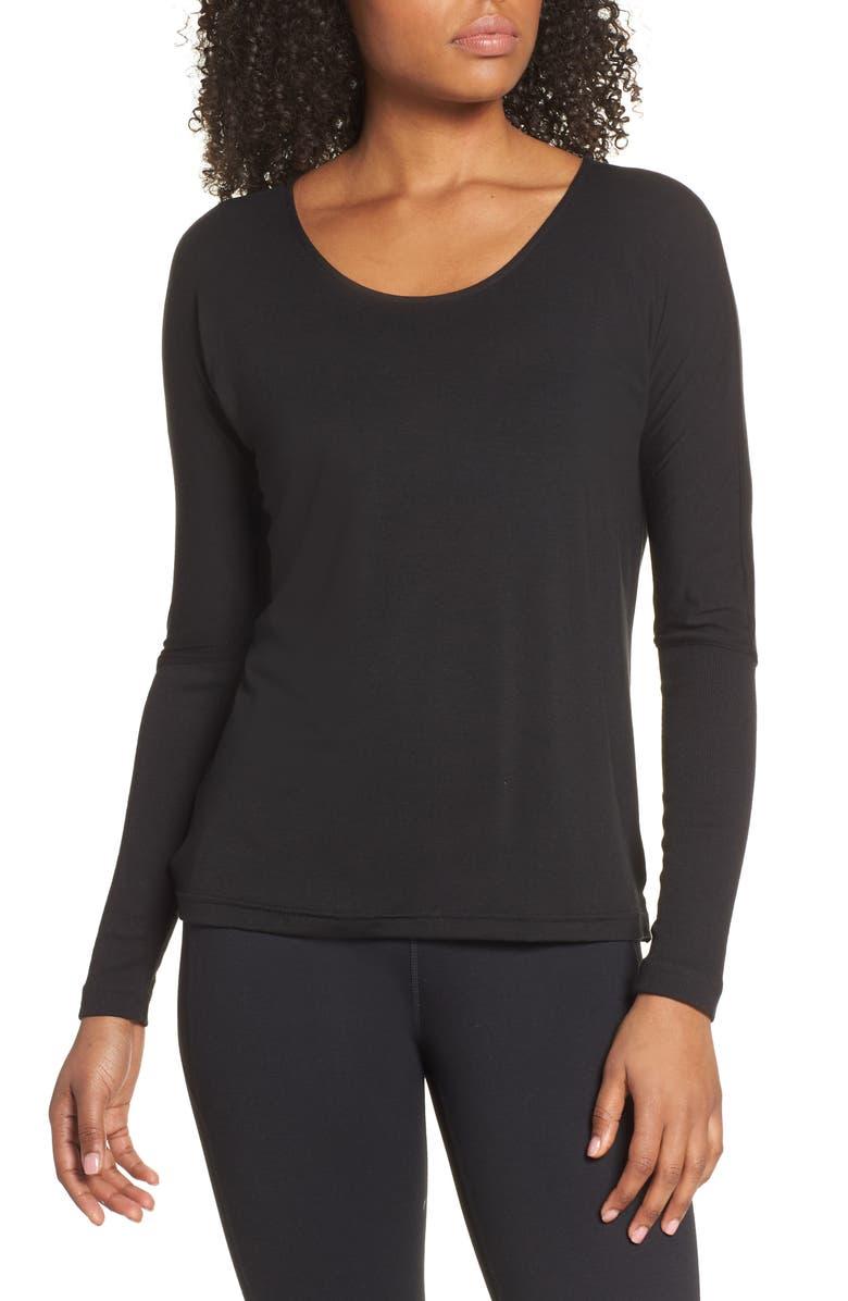ONZIE Drapey V-Back Top, Main, color, BLACK
