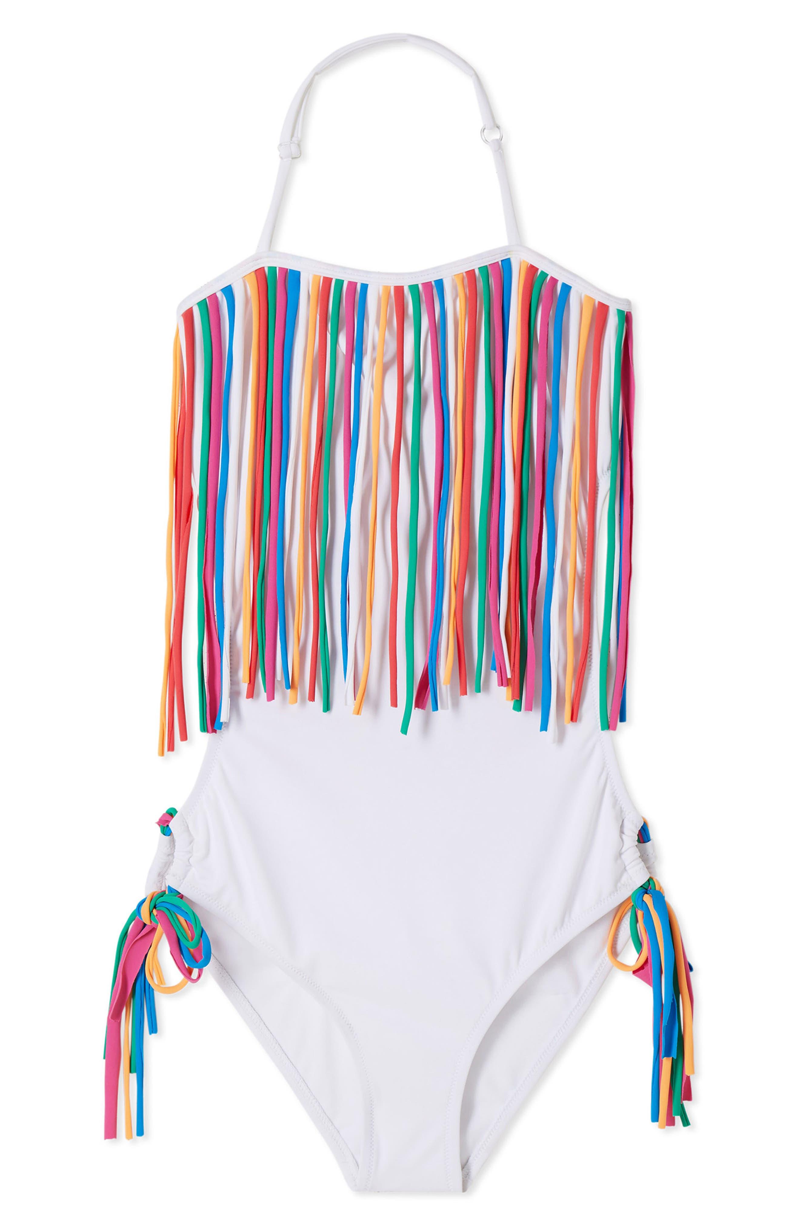 ,                             Fringe One-Piece Swimsuit,                             Main thumbnail 1, color,                             WHITE